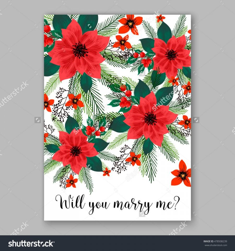 Poinsettia Wedding Invitation Sample Card Beautiful Winter Floral ...