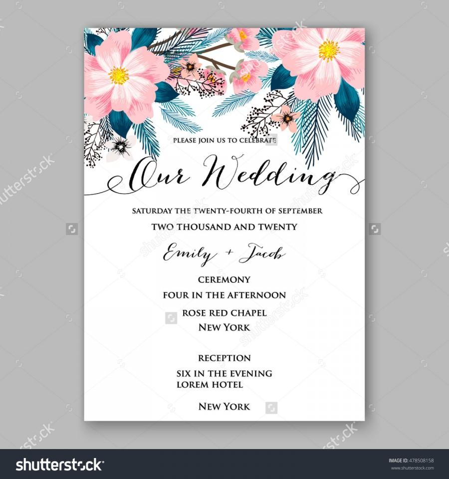Poinsettia Wedding Invitation Sample Card Beautiful Winter