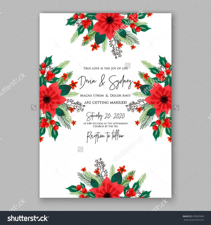 Ornament party invitations - Poinsettia Wedding Invitation Sample Card Beautiful Winter Floral Ornament Christmas Party Wreath Poinsettia Pine Branch Fir Tree Needle Flower Bouquet