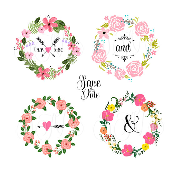 Wreaths Floral Clipart, Digital Wreath, Floral Frames, Flowers ...