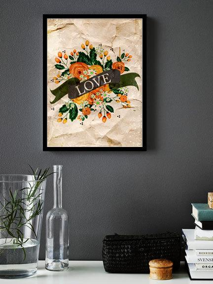 Wedding - Quote Art Print - 6x8 Printable Instant Download, Love quote, Floral Wall Art, Folk Art
