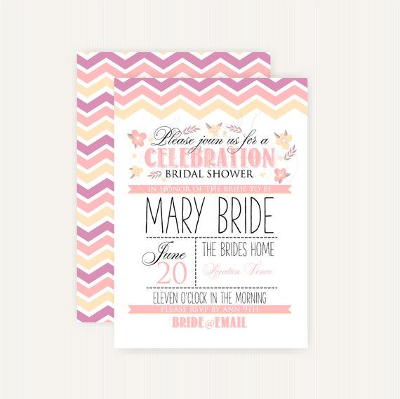 Mariage - Bridal Shower Invitation 2 DIY PRINTABLE - Customizable Colors