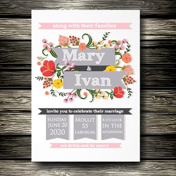 """زفاف - Only 2.95 USD Wedding invitation, """"Bridal shower announcement"""", """"Save the Date card"""", """"Wedding name card"""", """"Thank you card"""","""