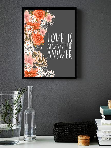 Mariage - Quote Art Print, Printable art wall decor stripes inspirational quotes poster Love is always the answer - digital - INSTANT DOWNLOAD