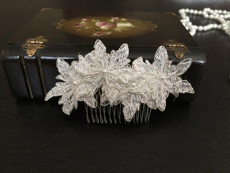 Hochzeit - Bridal Hair Accessories, Wedding Head Piece, Ivory Lace,Pearl Comb