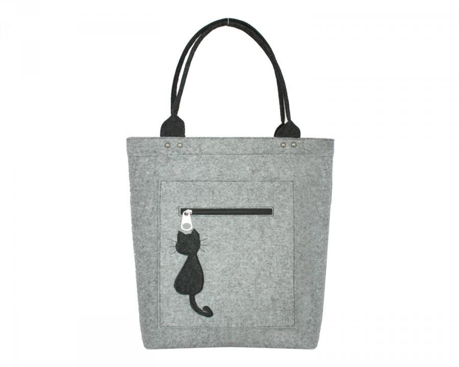 Grey Felt Bag Cat Bag Elegant Bag Grey Fashion Accessories For Woman ...