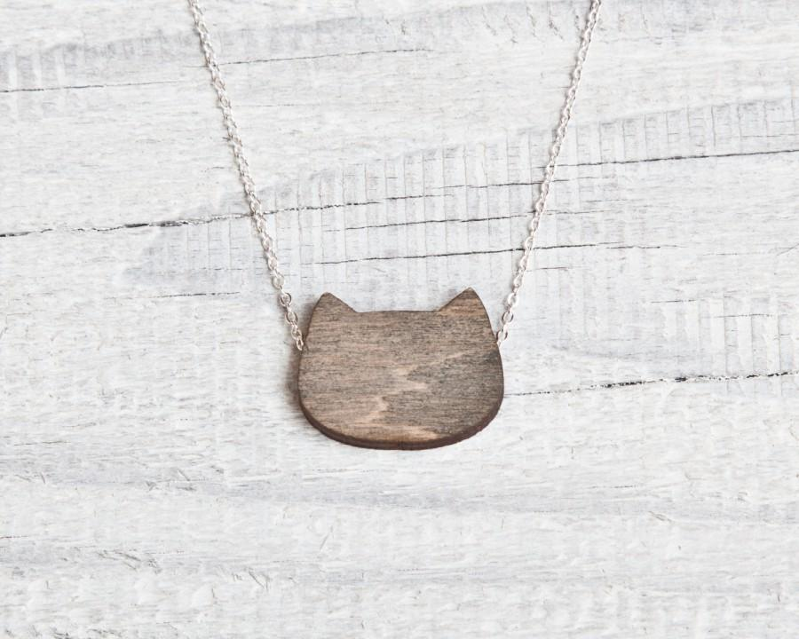Wood Cat Necklace Black Cat Jewelry Cute Pendant Bridesmaids