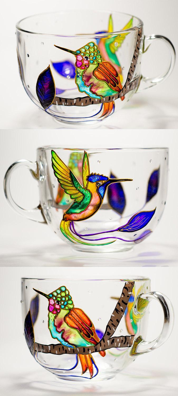 Свадьба - Hummingbird Mug Mothers Day Gifts, Hummingbird Glass Large Coffee Mug, Bird Cup for Mom Gift for her