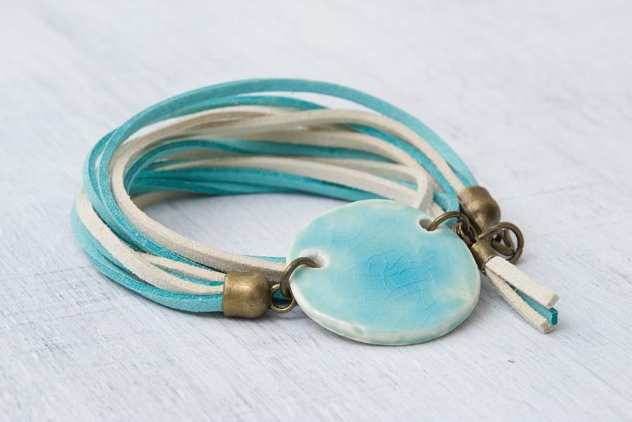 Hochzeit - Turquoise ceramic bead bracelet Charm bracelet Ceramic geometric jewelry Double wrap bracelet Handmade jewelry Unique gift Tassel bracelet