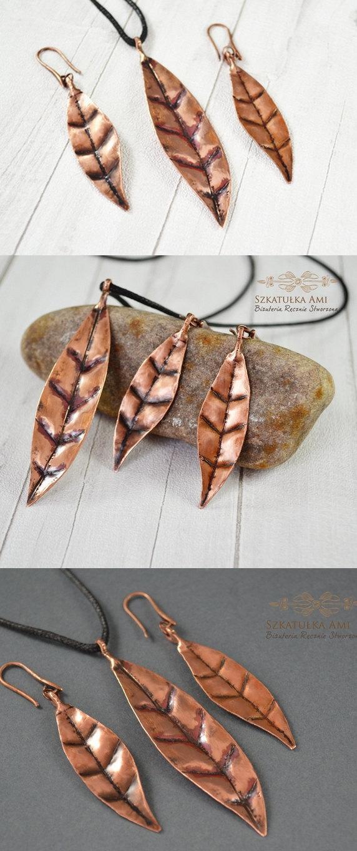 Hochzeit - SUMMER SALE Leaf earrings, leaf necklace, leaf jewelry, copper earrings, copper pendant, metal earrings, leaves jewellery, metal neckl