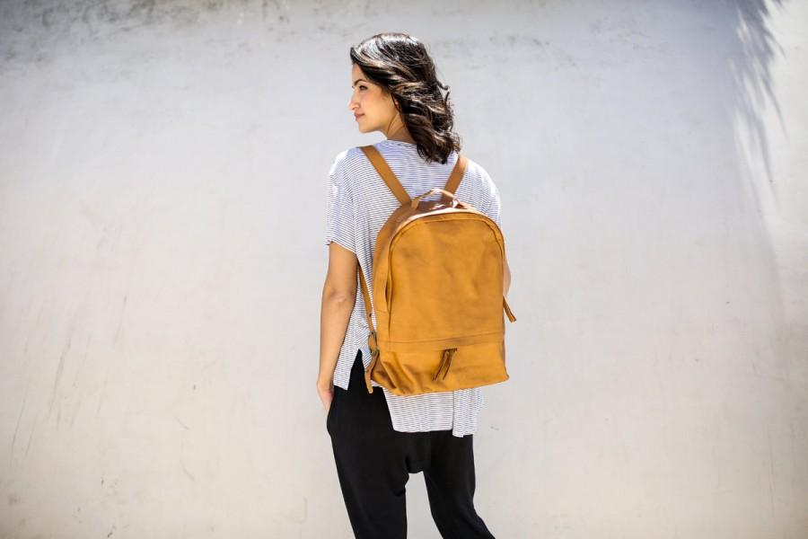 Hochzeit - New! Women Leather Backpack, Leather Laptop Backpack, Travel Rucksack, Shoulder Leather Bag, Leather Satchel- Amber Brown Ziggy
