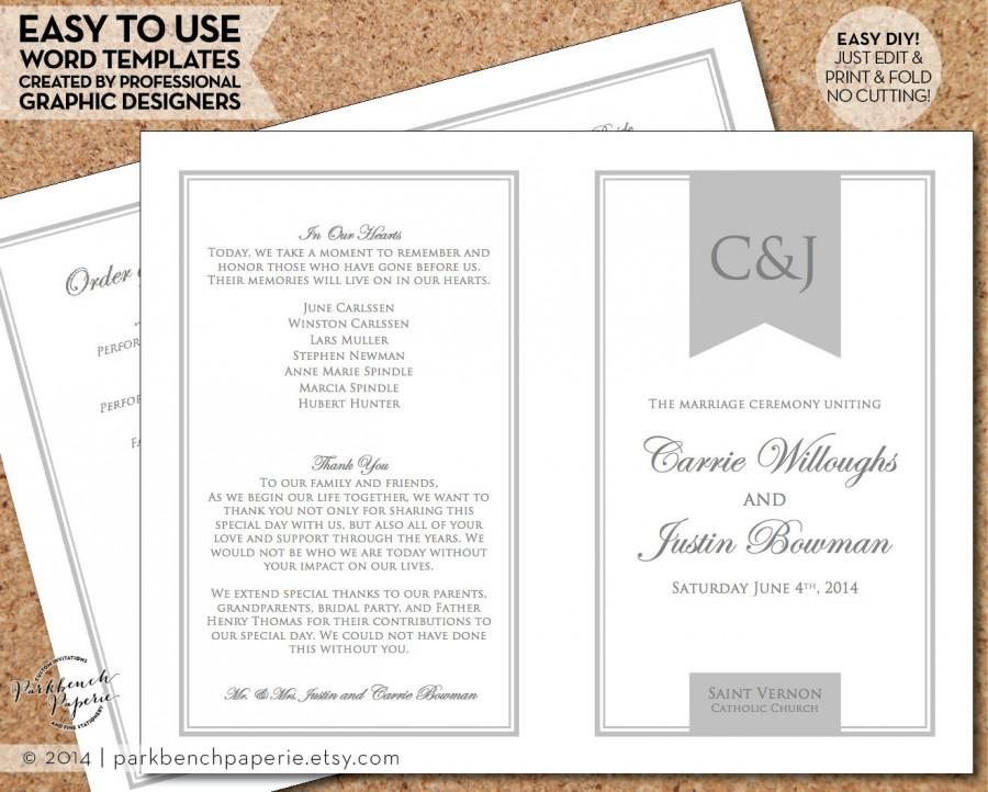 wedding program template simple banner gray diy editable word
