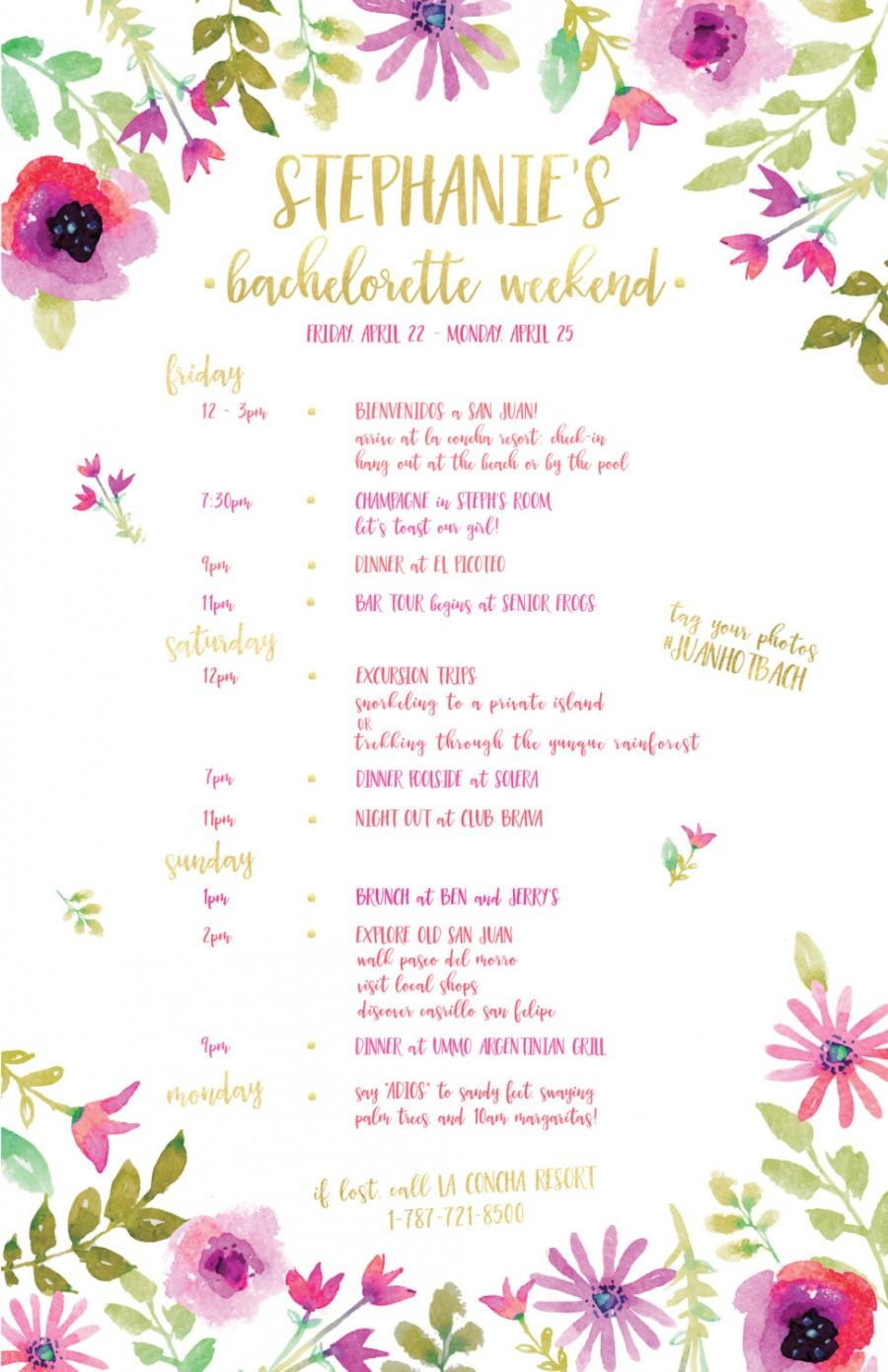 Wedding - Pink Watercolor Flower and Gold Foil Art Bachelorette Itinerary