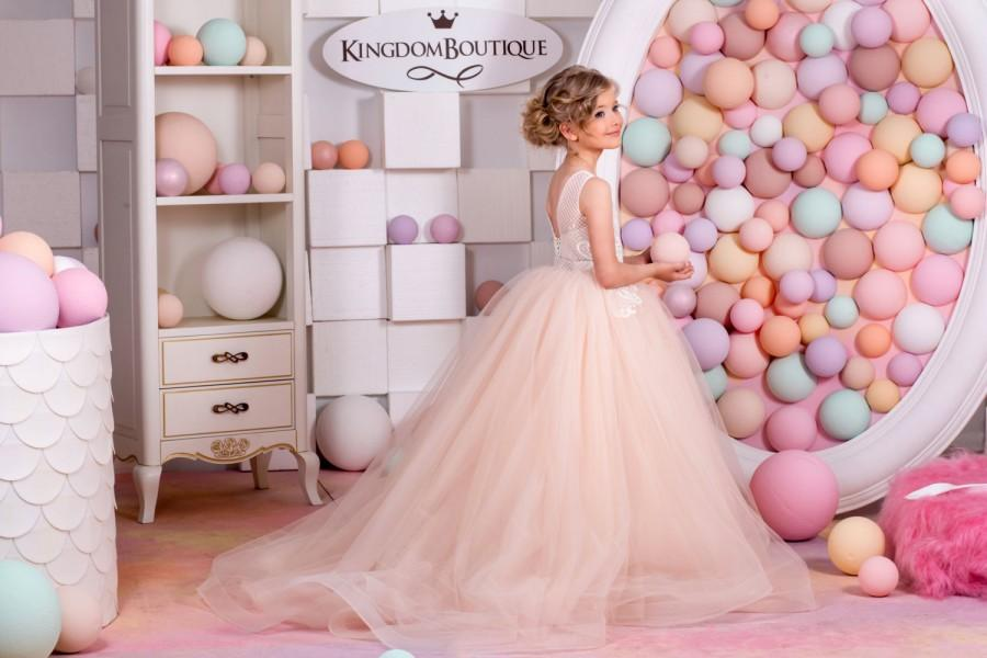 زفاف - Blush Flower Girl Dress - Holiday Bridesmaid Wedding Party Birthday Blush Tulle Lace Flower Girl Dress 15-023