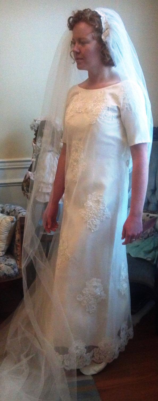 Свадьба - Vintage Maurer Original Wedding Dress, Circa 1968, Size 4-6, Satin, Illusion, Lace, & Organza, ~~by Victorian Wardrobe