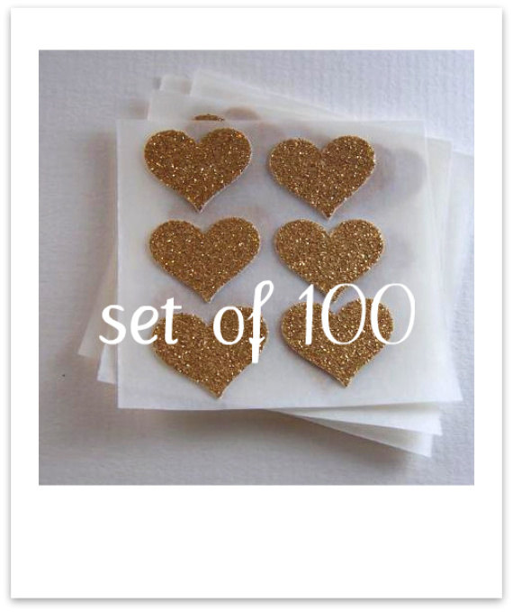 Wedding - envelope seals - small gold glitter heart stickers -  made to order