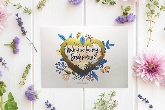 Свадьба - Cute Will You Be My Bridesmaid Cards, Scratch Off Bridesmaid Card, Bridesmaid Proposal Card, Will You Be My Maid of Honor - GBM-03