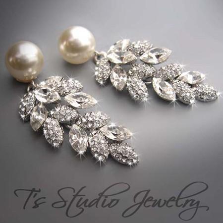 زفاف - Wedding Pearl Bridal Chandelier Earrings - CZ Cubic Zirconia Crystal with Ivory or White Pearls - Silver or Gold Base - CAROLYN