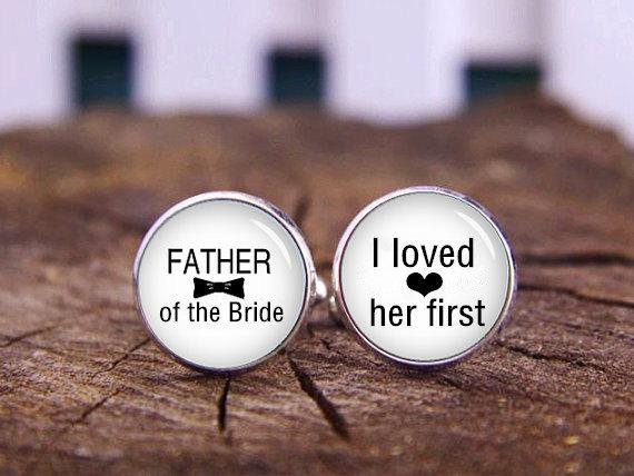 زفاف - Father Of The Groom Cuff Links, Father Of The Bride Cufflinks, Custom Initals Or Date Cufflinks, Custom Wedding cuff Links, Tie Bars, Or Set