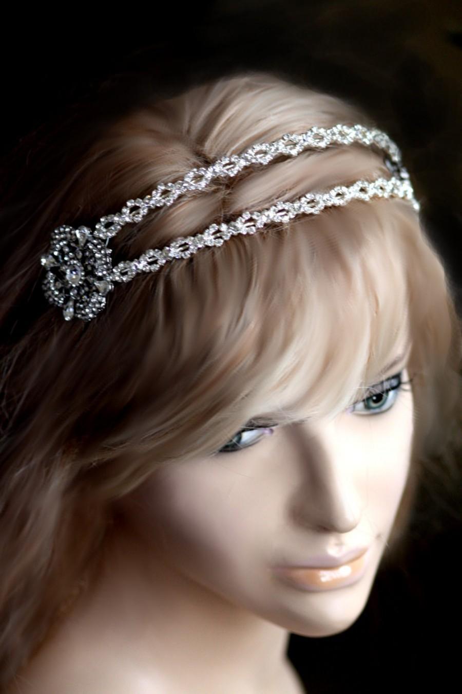 Lorra Vintage Style Swarovski Crystal Bridal Double Headband