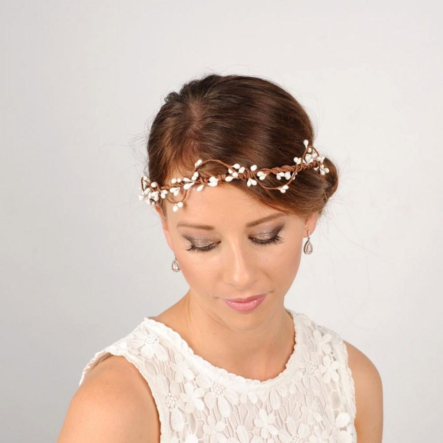 White Berry Headband Rustic Flower Crown Wedding Hair Piece