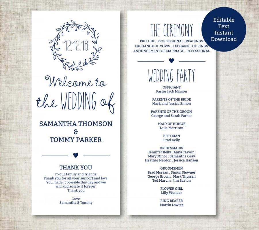 Classic Wreath Navy Wedding Program Template Download Editable Text
