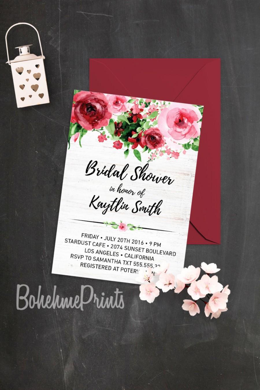 Свадьба - Watercolor Roses Bridal Shower Invitation Modern Bridal Shower Invitation Printable Bridal Shower Invitation Red Bridal Shower Invitation