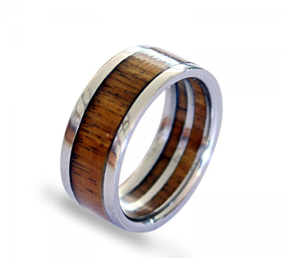 زفاف - Titanium men ring with pockwood inlay