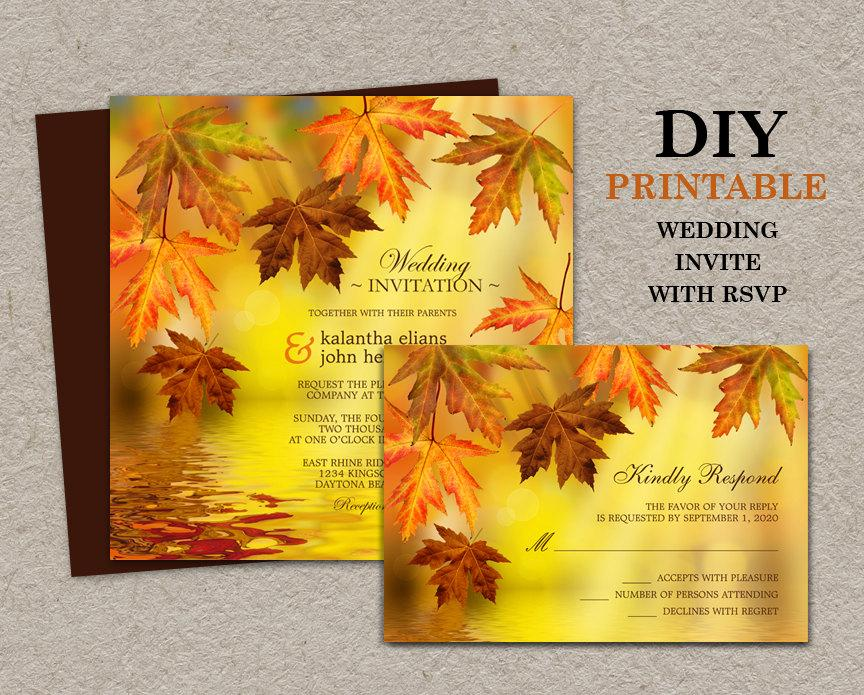 Mariage - DIY Printable Fall Wedding Invitations With RSVP, Fall Wedding Invitation Sets With Leaves, Falling Leaves Wedding Invites