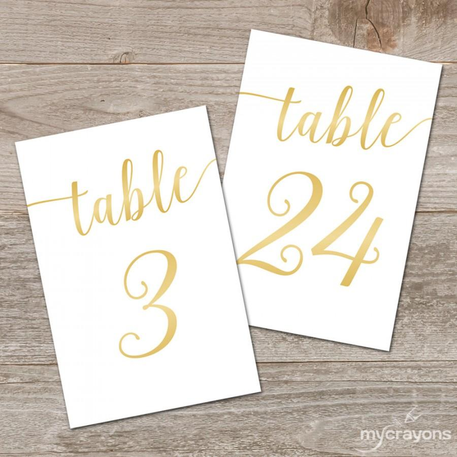 Mariage - Printable Gold Table Numbers 1-30 // Bella Script Gold Table Numbers Gold Wedding Decor // 5x7, 4x6 Table Numbers Wedding