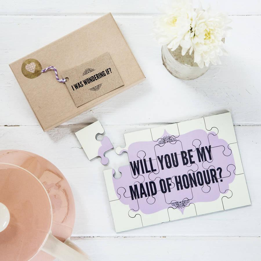Personalised Will You Be My Maid Of Honour Jigsaw Engagement Announcement Gift For Maids