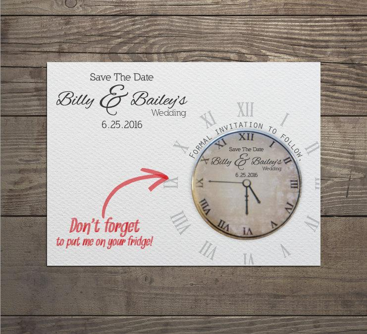 Mariage - 100 x Clock save the date invites with detachable round magnets and matching envelopes