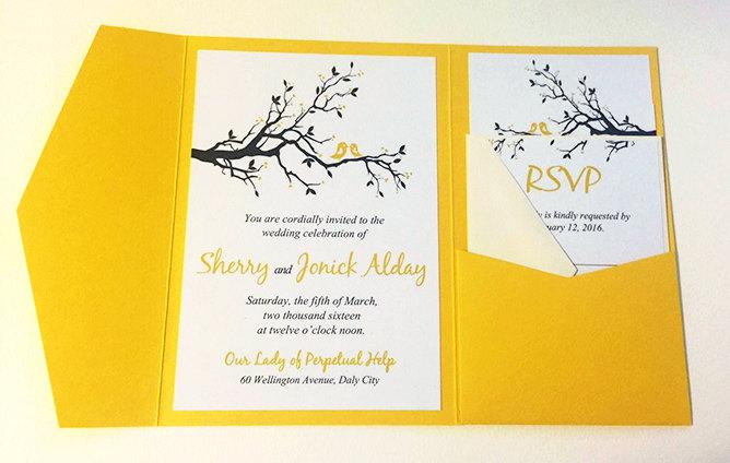 Love Bird Wedding Pocketfold Invitation Set Deposit Yellow Gray Branch Accommodation Rsvp Reception Card