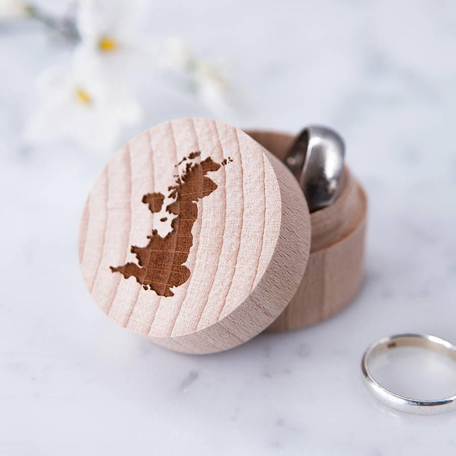 Personalised Map Ring Box Travel Gift Fifth Wedding
