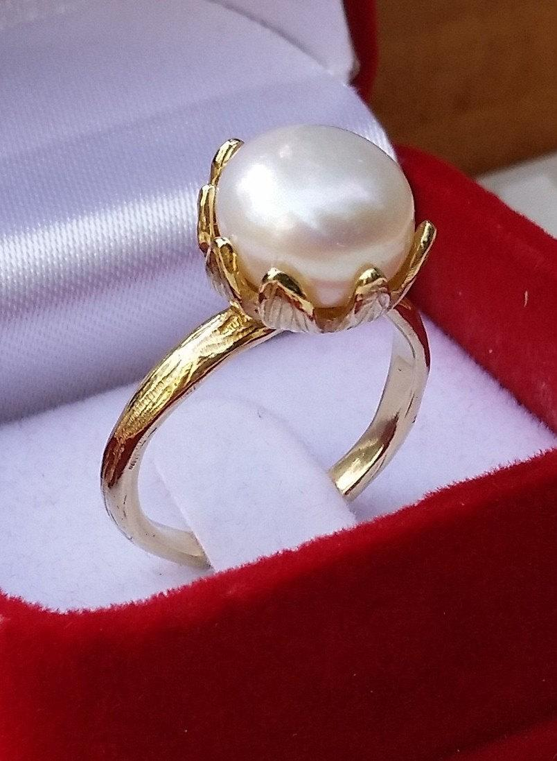 Gold Ring 14K Yellow Gold Jewelry Pearl Handmade Artisan Crafted