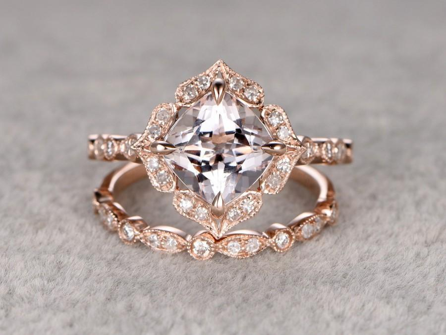 2pcs 8mm morganite bridal ring setart deco engagement ring 14k rose golddiamond wedding bandcushion cutpromise ringretro vintage floral - Art Deco Wedding Rings