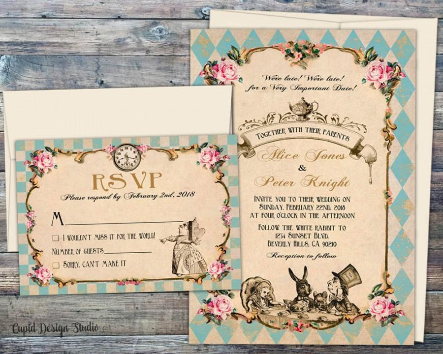 Fairytale Wedding Invitations Wedding Invitations Alice And Wonderland  Invitation Set Handmade Alice In Wonderland Invite Printed Wedding