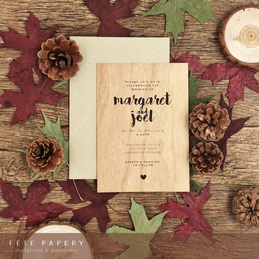Wood Veneer Wedding Invitation With Matching Envelope Three Colours ...