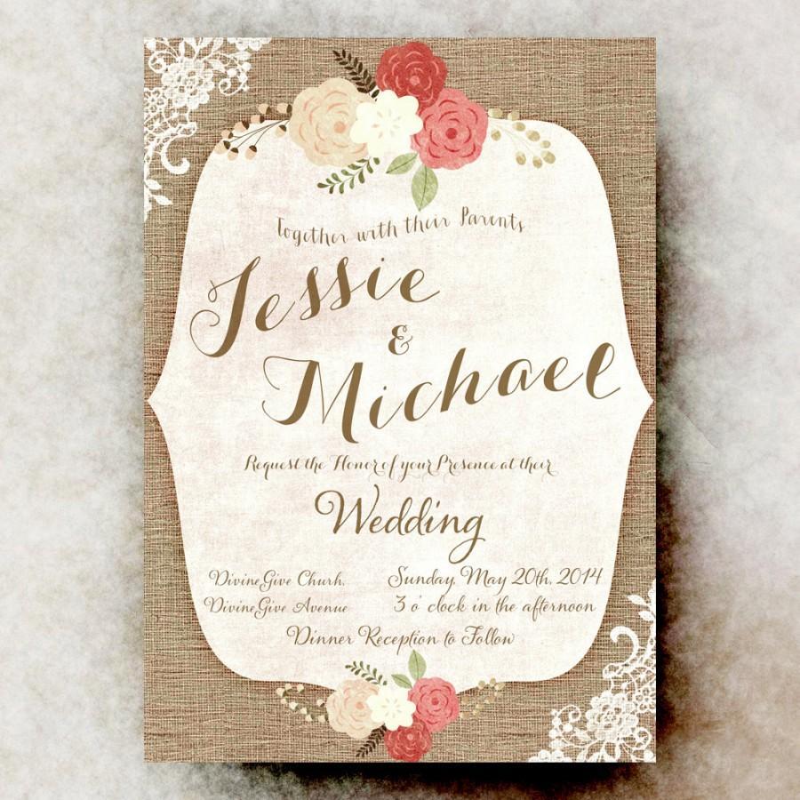 Rustic Wedding Invitation - Lace Wedding Invitation, Burlap Wedding ...