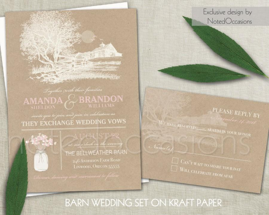 Mariage - Rustic Wedding Invitation Set Barn Wedding