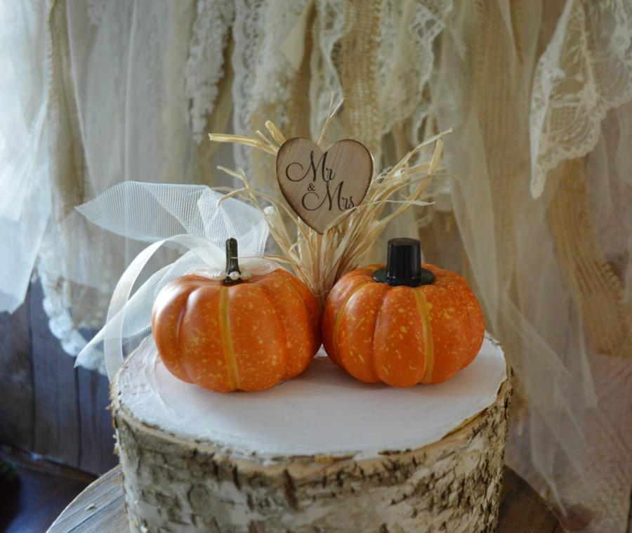 Wedding - Fall wedding cake topper mini pumpkin topper bride groom country wedding rustic barn pumpkin fall decorations themed Mr and Mrs autumn bride