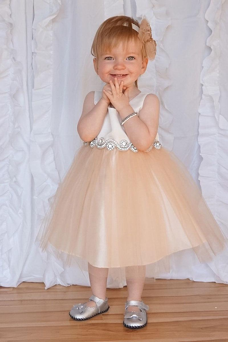 Свадьба - Satin and Tulle Flower Girl Dress With Rhinestone Belt