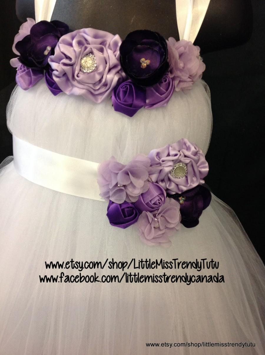 White Flower Girl Tutu Dress With Purple Handmand Flowers With