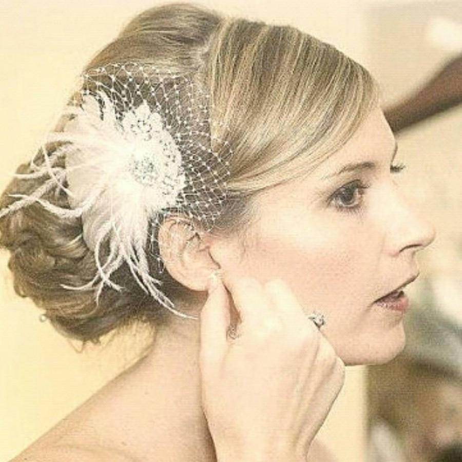 Mariage - Bridal Fascinator, Wedding Fascinator, French Netting, Bridal Comb, Wedding Hair Clip, Bridal Gift, Bridesmaids Gift, Kathyjohnson3, Ivory