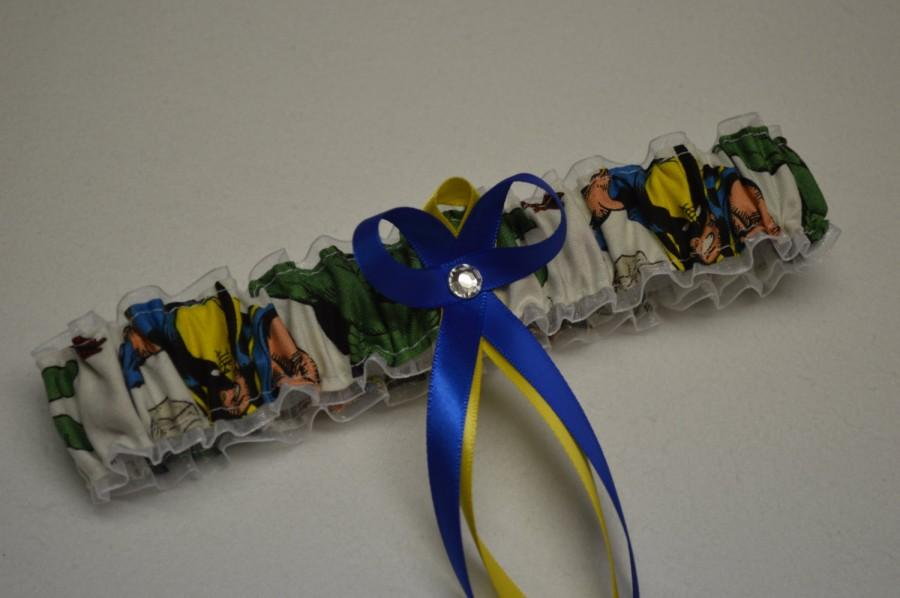 Mariage - Handmade wedding garter toss WOLVERINE Marvel Super Hero wedding garter