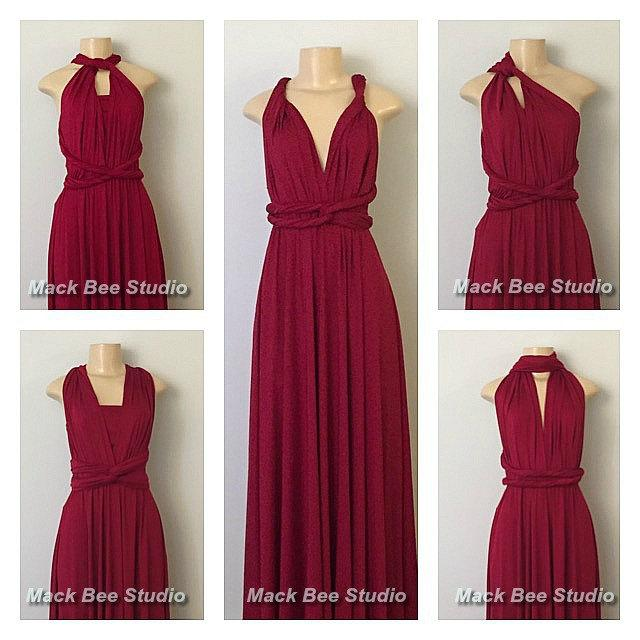 Burgundy Long Infinity Bridesmaid Dress, Convertible Wrap ...