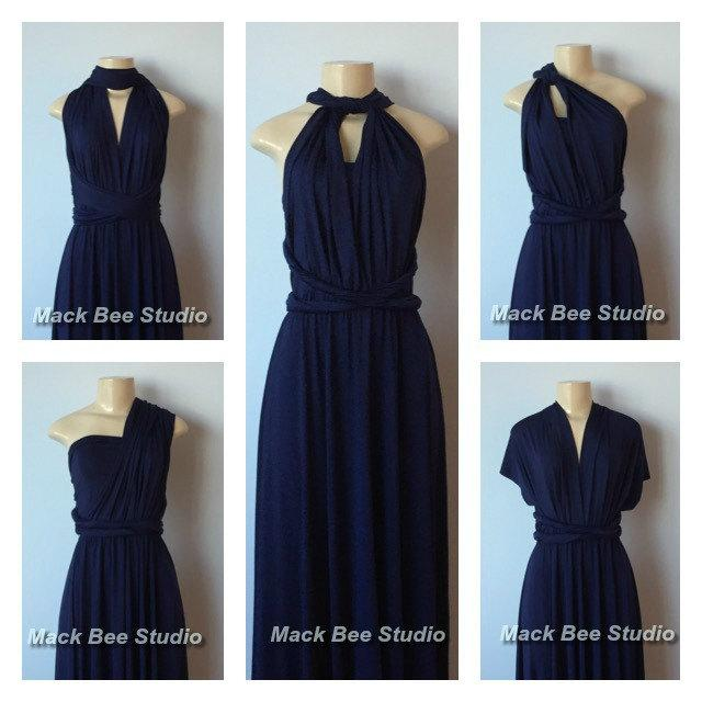 Navy Long Infinity Bridesmaid Dress Dark Blue Convertible Wrap