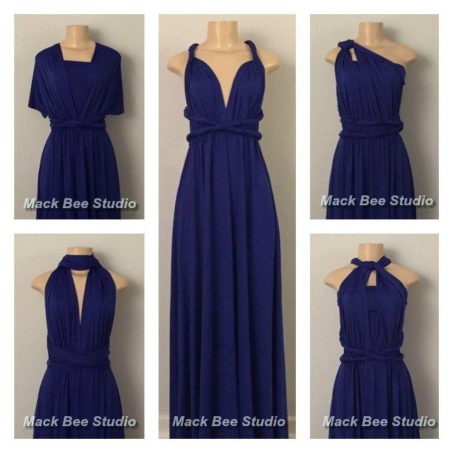 Royal Blue Long Infinity Bridesmaid Dress Bright Multiway Convertible Prom Maternity