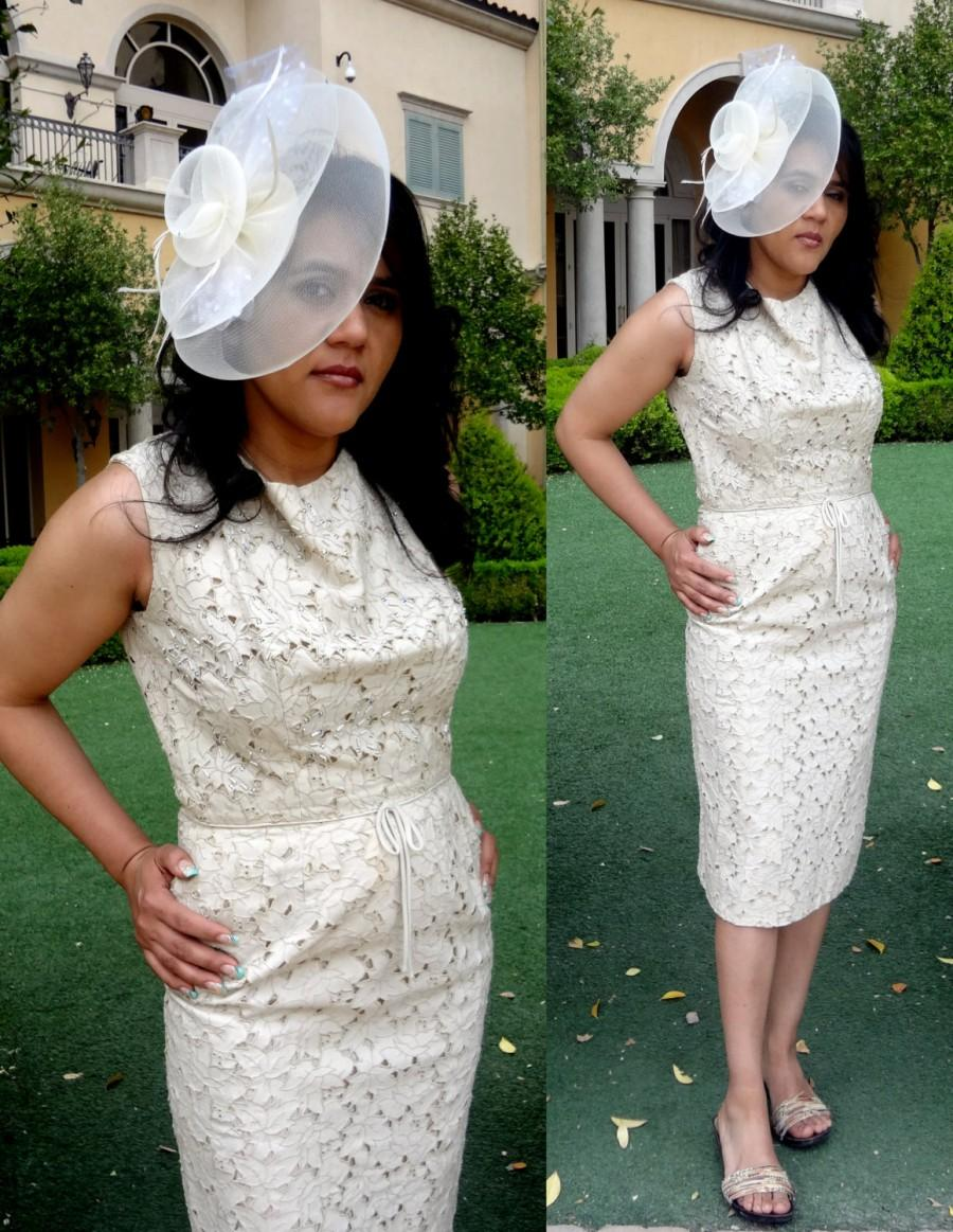 Hochzeit - Vintage 60s Ivory Lace Wiggle Dress by Parnes Feinstein  - Mad Men, Rockabilly, Eco Friendly, Pin Up,
