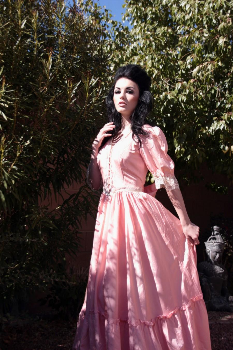 70s gunne sax jessica mcclintock coral pink vintage for Hippie vintage wedding dresses